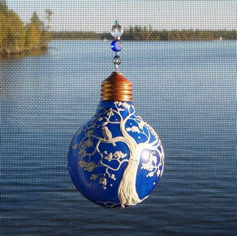Recycled Lightbulb Ornament With Tree And Bird On Cobalt Blue Ornaments Light Bulbs