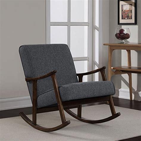 Wooden Rocker Glider Chair by Granite Grey Fabric Retro Wooden Rocker Glider Chair