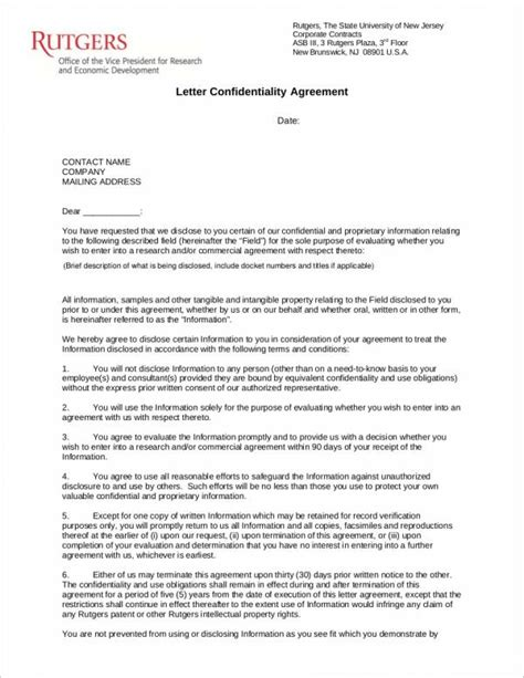 business letter format confidential 14 confidentiality agreement sles templates pdf