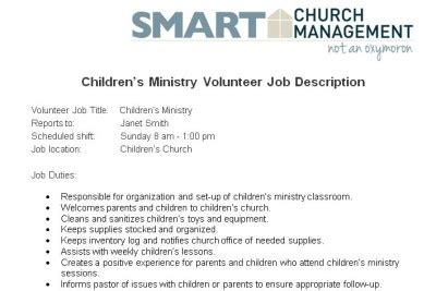 Church Volunteer Description Template Downloadable Volunteer Job Descriptions