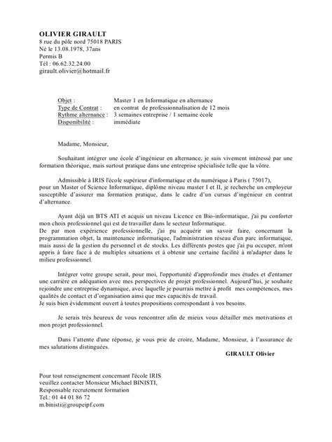 Lettre De Motivation Ecole Bts Assurance Lettre De Motivation Ogirault Pdf Par Letsrock Fichier Pdf