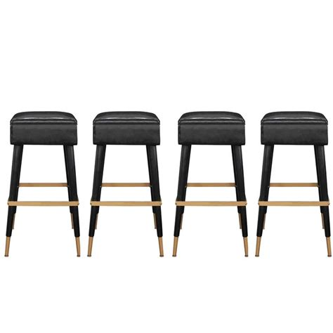 Chic Bar Stool by Set Of Four Chic Bar Stools With Brass Sabots And