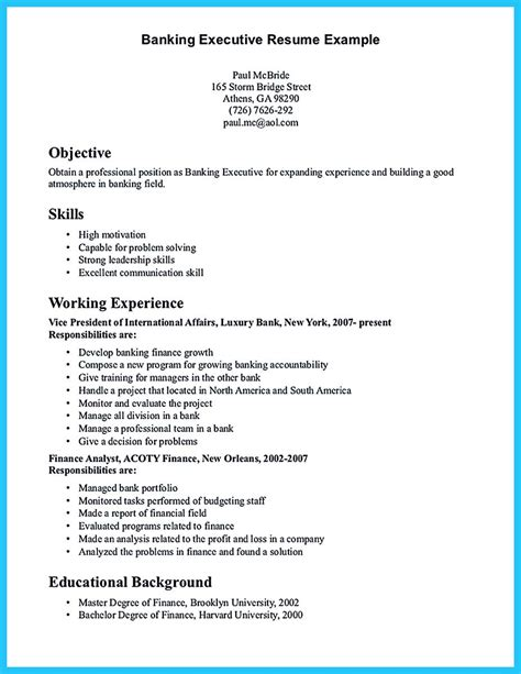 Investment Banking Resume Objective by One Of Recommended Banking Resume Exles To Learn