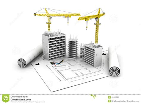 In Law Apartment House Plans 3d building block in construction stock illustration