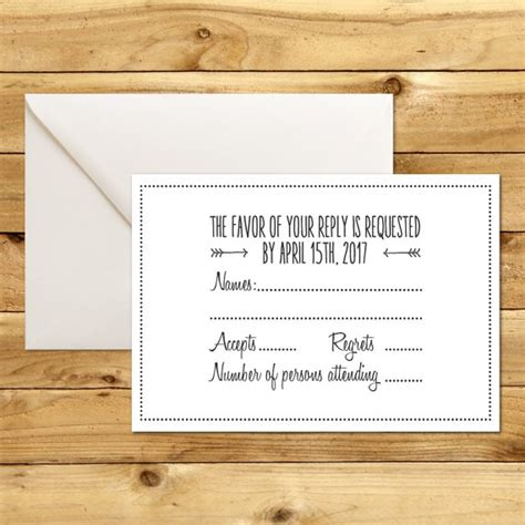rsvp reply template printable wedding rsvp response card template