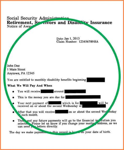 Award Letter For Ssi Benefits 10 Social Security Benefits Letter Registration Statement 2017