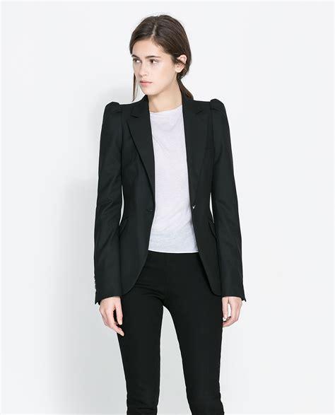 Bt7489 Black Blazer Zara zara blazer with gathered shoulders in black lyst