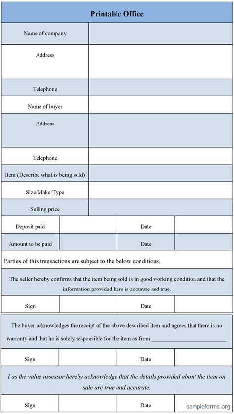 printable form in html printable office form sle forms