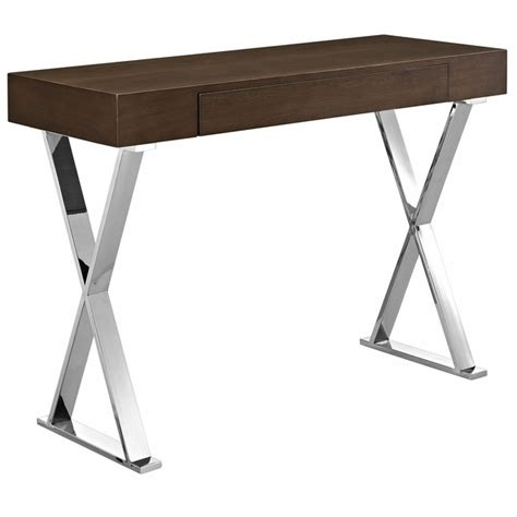 High Console Table Sector Modernistic Console Table With High Gloss Top Chrome Base Brown