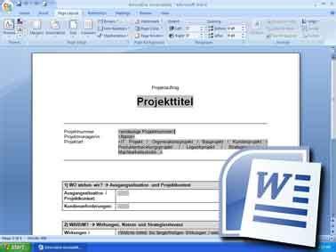 Word Vorlage Konzept projektmanagement projektmanagement freeware