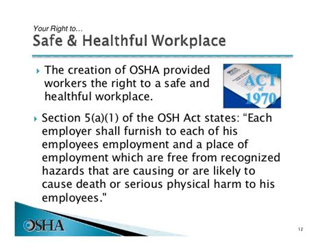 section 5 a 1 of the osh act introduction to osha