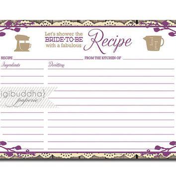 bridal shower recipe cards templates best downloadable recipe cards for bridal shower products