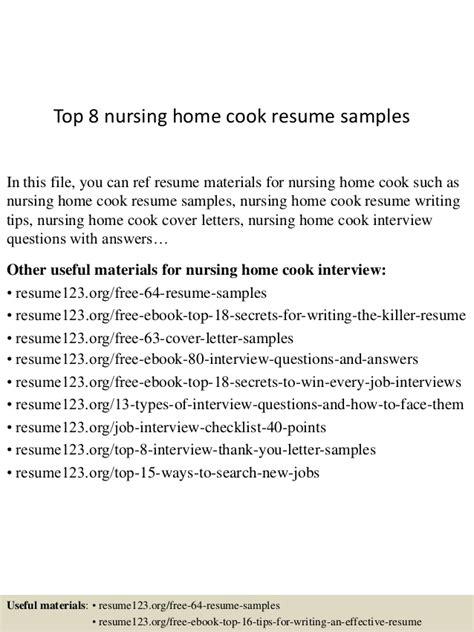 Sle Resume For A Nursing Home Cook top 8 nursing home cook resume sles