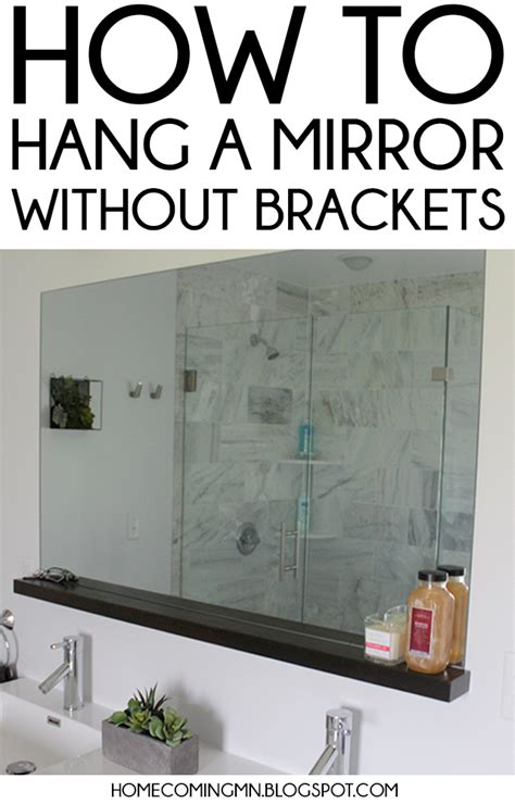 how to hang a bathroom mirror with a frame home coming how to install a bathroom mirror without brackets
