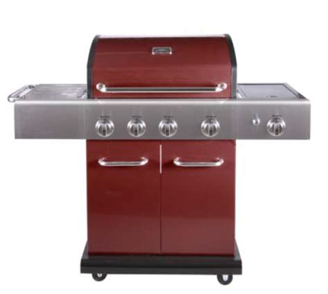 Panggangan Portable 4 burner utama merah warna silver portabel bbq grills gas