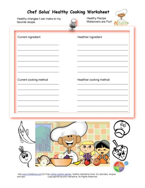 printable recipes for healthy eating healthy substitutes for my recipe makeover worksheet