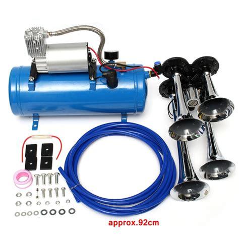 Kompresor Mini 12 Volt 12v 24v 4 Trumpet Vehicle Air Horn Compressor Tubing 150