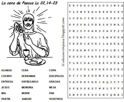 preguntas biblicas para niños catolicos educar con jes 250 s sopa de letras semana santa 2 cena de