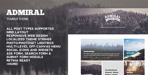 tumblr themes free for writers admiral tumblr theme by oliverdionela themeforest