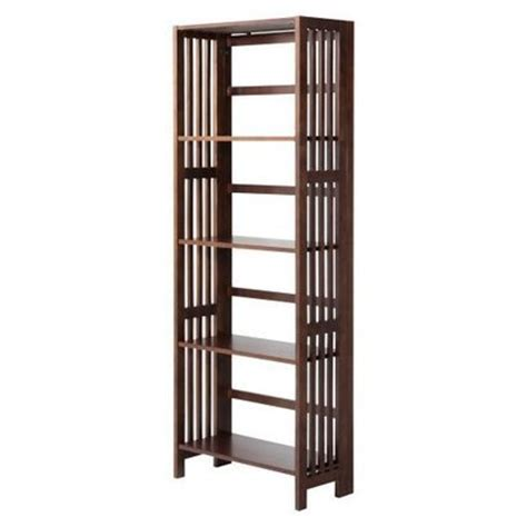 folding bookshelves target mission 5 shelf folding bookcase espresso target