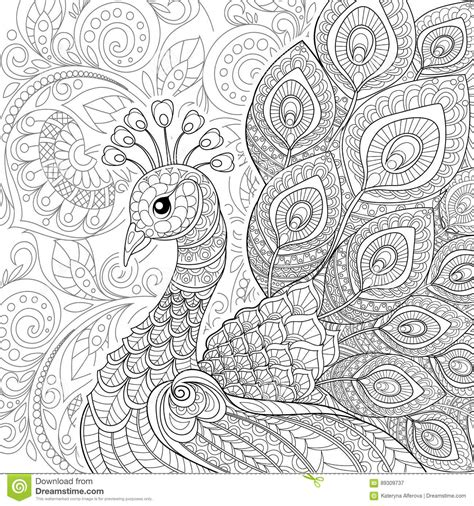 anti stress coloring book price peacock in zentangle style antistress coloring page