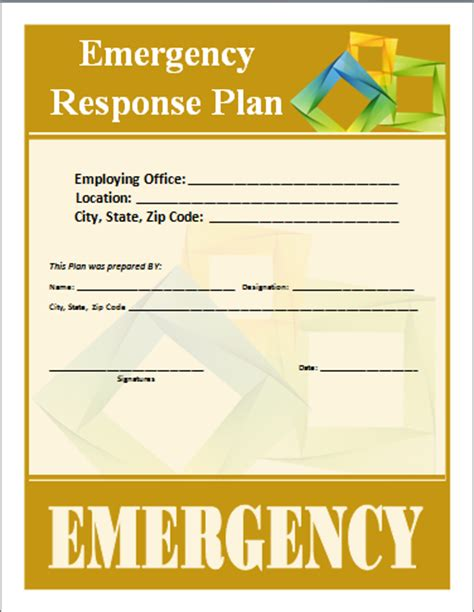 emergency response policy template emergency response plan template word documents
