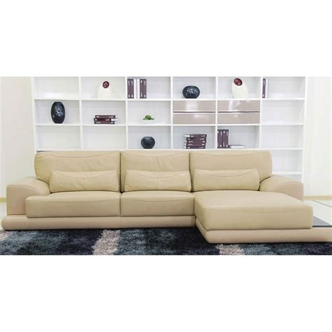 Beige Leather Sectional Sofa With Pillows In White Painted Sectional Sofa Pillows
