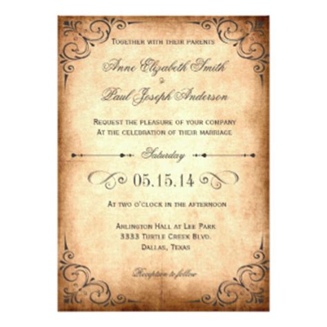 vintage invitations vintage wedding invitations announcements zazzle