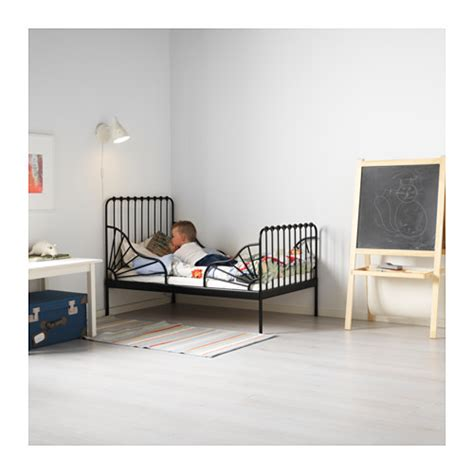 ikea minnen bed minnen ext bed frame with slatted bed base black 80x200 cm