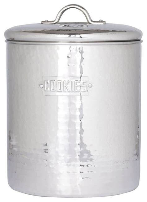 stainless steel hammered cookie jar with fresh seal cover