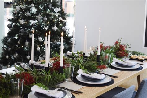 black and white christmas table styling with native