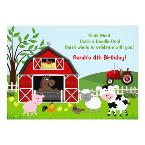Barnyard Farm Animals Birthday Party Invitations Zazzle Com Farm Invitation Template