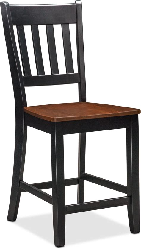 Black Counter Height Dining Table And Chairs Nantucket Counter Height Table And 4 Slat Back Chairs Black And Cherry American Signature