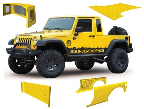 jeep truck conversion mopar jk 8 pickup conversion kit for 07 12 jeep wrangler