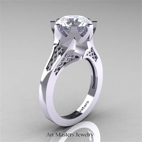 modern 14k white gold 3 0 carat white sapphire crown