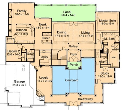 courtyard house plan 16854wg 1st floor master