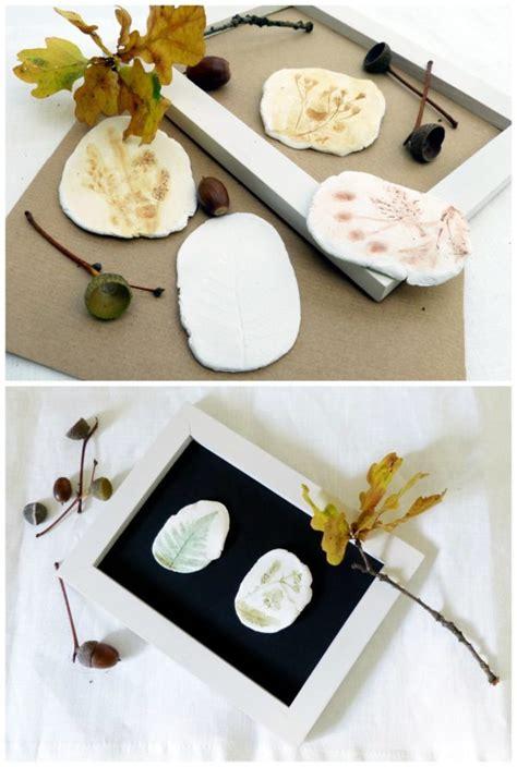 lufttrocknende modelliermasse ideen kleine herbst reliefs aus naturmaterialien und