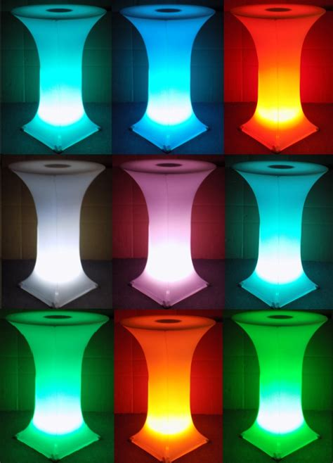 LED Glow Spandex Knockdown Highboy Cocktail Table