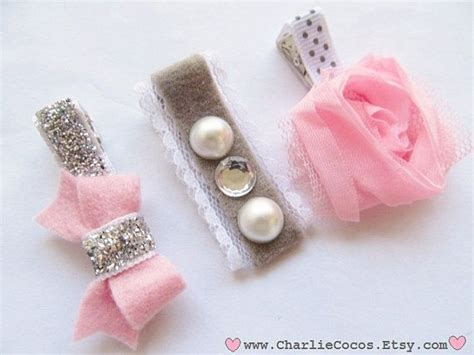 Baby Hair Clip pink and gray hair bow set pink flower hair clip felt