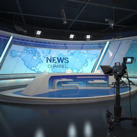 scene tv studio news set  model turbosquid