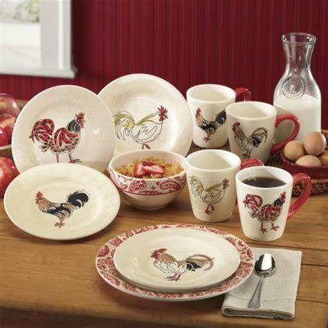 Kitchen Set Paisley Pasta Krem 16 paisley rooster dinnerware set from through the