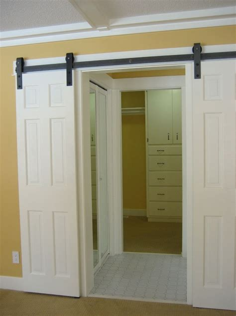Slide Door Closet Sliding Barn Door Closet Doors Home Design Ideas