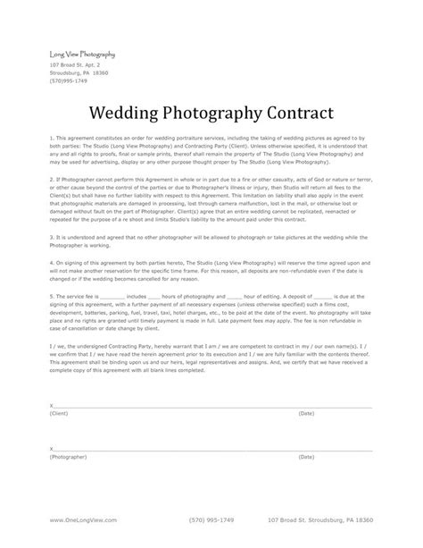 photography contract template template business