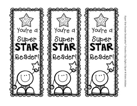 printable bookmarks black and white the creative chalkboard free super star reader bookmarks