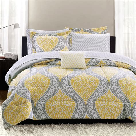 grey white comforter yellow and gray bedding that will make your bedroom pop