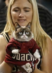 We Are The Cat On Tour by Grumpy Cat Joins Baseball Legend Tony La Russa At Arizona