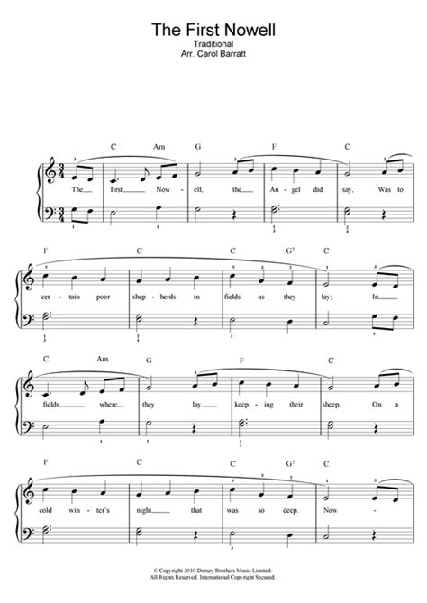 The First Nowell sheet music by Christmas Carol (Piano