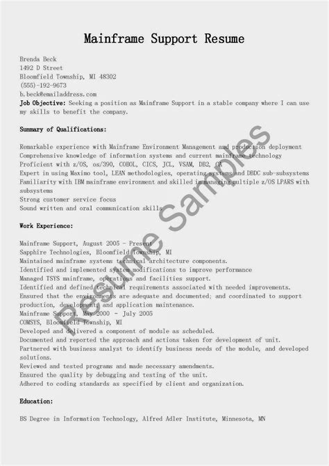 sle resume for mainframe production support mainframe