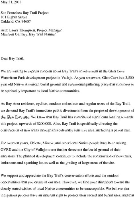 Demand Letter For New Demonstrators Demand That Bay Trail Cut Ties With Glen Cove Development Indybay