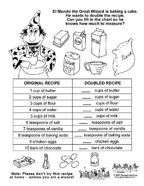 Kitchen Math Measuring Worksheet by Cooking Measurement Math Worksheets Relentlessly